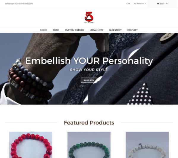 5pillarbracelets.com homepage