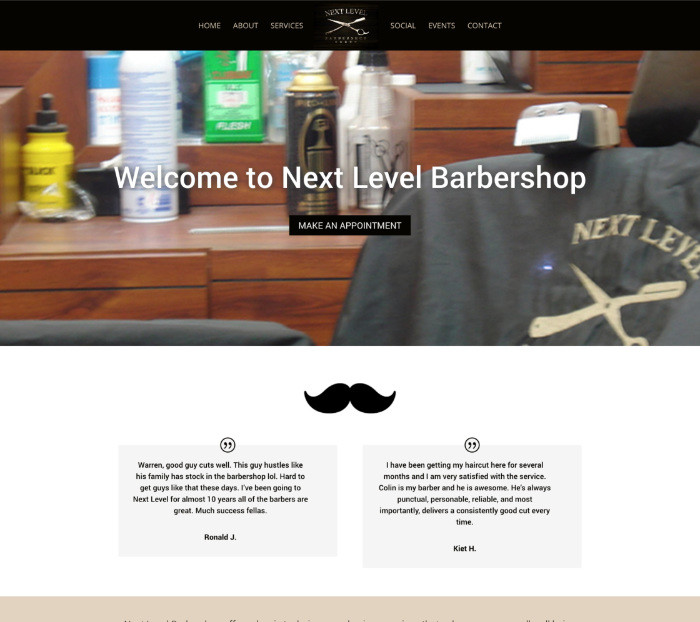 Nextlevelbarbershop.com homepage