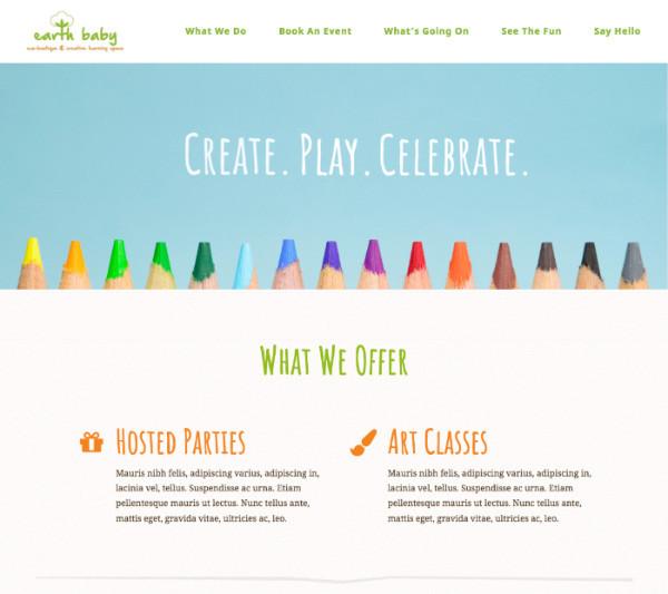 Earthbabycls.com homepage