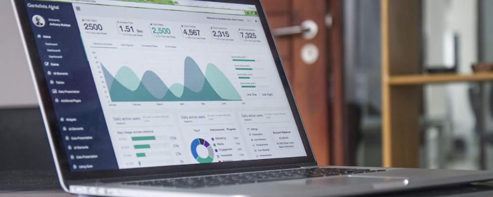 Laptop displaying website analytics