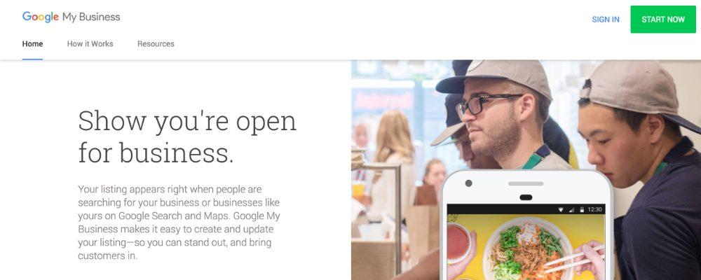 Google My Business website hompepage