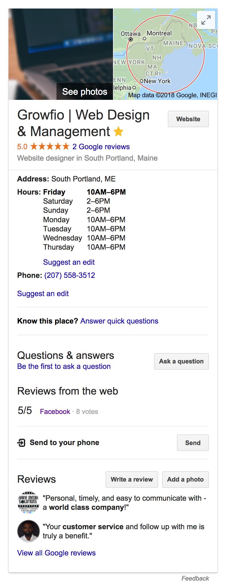Growfio on Google My Business
