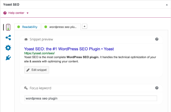Yoast SEO plugin screenshot